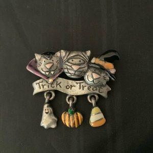 Vintage AJMC Halloween Cat Brooch